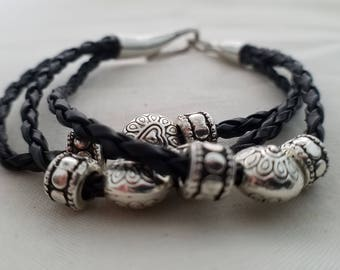 Braided Cord Bracelet with Beaded Details