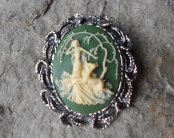 2 in 1 -  Goddess Diana, The Huntress Cameo Brooch/Pin/Pendant Beautiful Detail and Great Quality, Reindeer, Woods, Forest