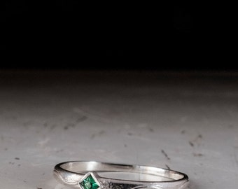 Dainty Sterling Silver Emerald Ring