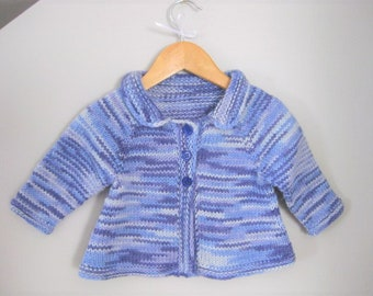 Hand Knitted Variegated Blue and Mauve Baby Girl Cardigan