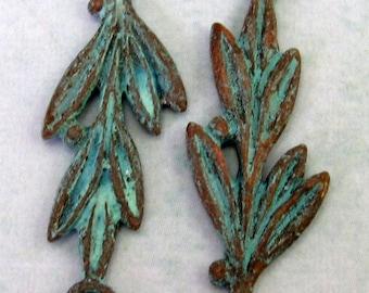 Mykonos Olive Branch Link, Cast Metal Green Patina 2-Pieces M119