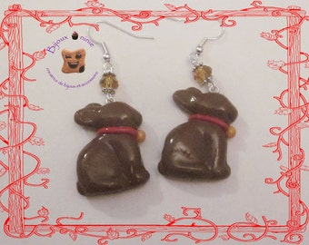 Fimo chocolate Easter Bunny earrings