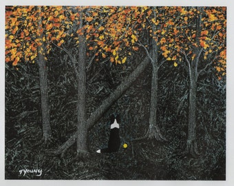 Border Collie Dog LARGE Folk Art Print of Todd Young painting Gold Forest