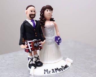 Scottish theme Kilt Personalised clay Wedding Cake Topper Bride & Groom