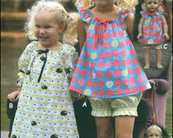 PAPER PATTERN - Nighty Nites - Long & Shortie Nightgowns for Child and Doll from Olive Ann Designs.