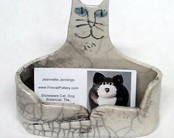 Cat Business card Holder: hand made  Raku fired black gray white pottery desk art One of a kind