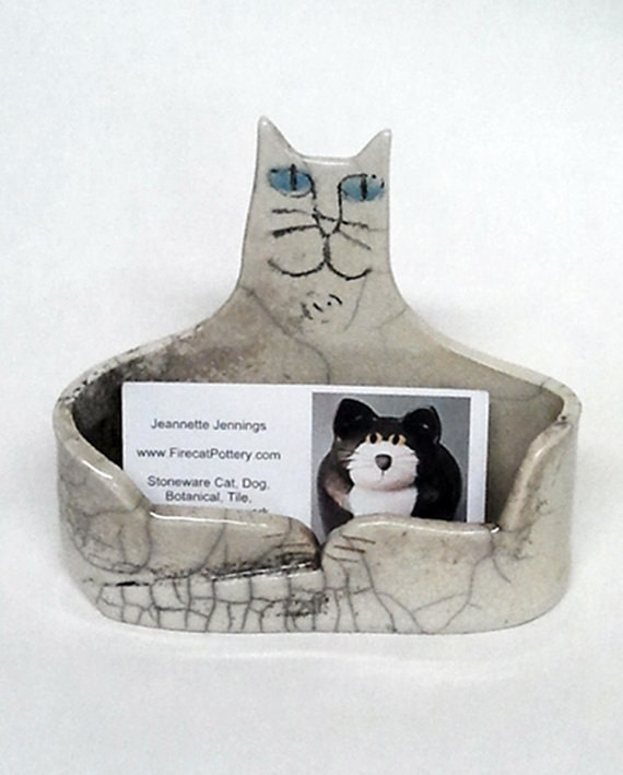 Cat business card holder hand made raku fired black gray like this item colourmoves