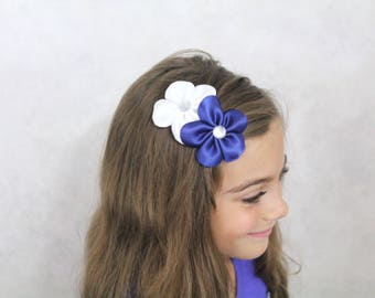 White and Navy Flowers Hair Bow - Wedding Flower Girl Hair Bow - Navy Blue White Hair Bow Flowers
