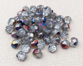 50 AB Translucent Silver Czech Faceted Glass Beads 6mm