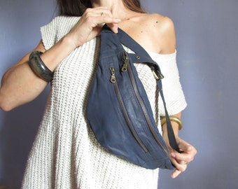 blue leather Fanny Pack