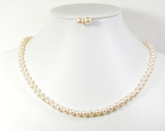 White Pearl Necklace-Pearl Necklace -  Grade AA+ 18 inches 6mm Freshwater Pearl Necklace - Free Matching Earring