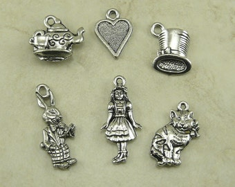 6 Alice in Wonderland Charms - Fantasy Story Book Rabbit Mad Hatter Tea Party - American Made Lead Free Pewter Silver - I Ship International