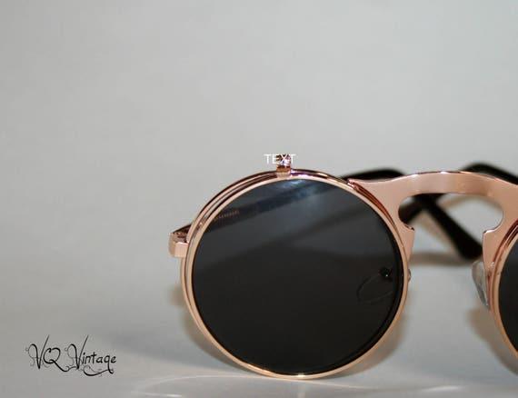 Flip Up Sunglasses Rose Gold Rocker Chic