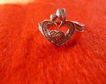 Sterling Silver Nesting Heart Ring with Diamonds