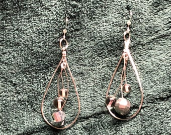 Silver Dangle Tear Drop with Silver and Crystal Clear bead drops