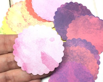 Gift Tags, watercolor gift tags, watercolor pattern, scalloped tag, Scalloped Tags 50 - 2 inch tags
