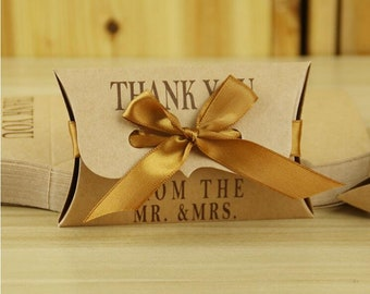 50pcs Kraft Pillow Box, Kraft Paper Candy Box, Wedding Favors Gift Packing Box, Christmas Present Gift Bags