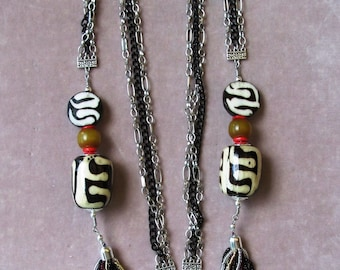 Triple Strand Chain Necklace of Batik Bone, Natural Horn, Coral and Seed Beads