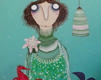 Mermaid celebrates fins chair. acrylic painting
