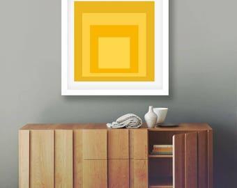 Abstract Decor Yellow Wall Art Modern Wall Art Print Yellow Squares Yellow Decor Modern Art Print Contemporary Art Living Room Art Decor