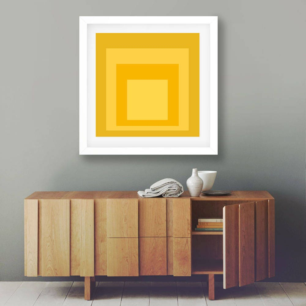 Abstract Decor Yellow Wall Art Modern Wall Art Print Yellow Squares ...