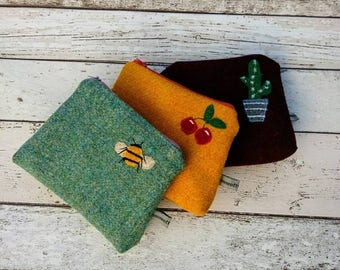 Hand Crafted Harris Tweed purse, cosmetic bag