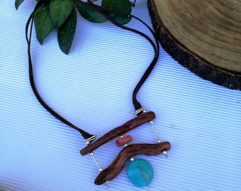Unique wooden necklace, Bohemian wood necklace,  Wood natural With necklace, Turquoise wood  necklace,Fashion wood jewelry