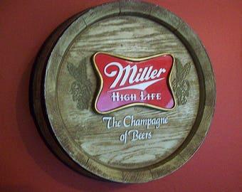 vintage Miller High Life beer sign retro rockabilly 1970's dive bar decor kitsch