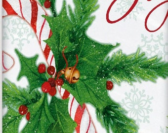 Happy holidays Joy candy cane holly berry holiday plastic tablecloth. UI49813
