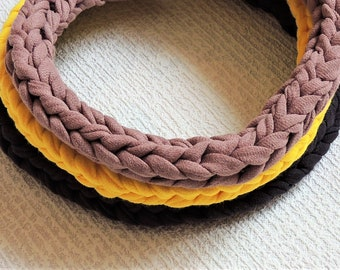 Textile macrame choker Chunky cotton yarn knitted necklace Handknitted jewelry Boho soft choker Original teen necklace Tube knit cord