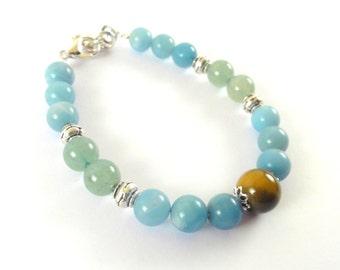 Fortune bracelet with amazonate and Aventurine-Success bracelet-Money Bracelet