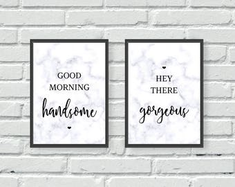 Morning Gorgeous Wall Prints, Above Bed Prints, Marble, Bedroom Prints, Set of 2, Gorgeous, Handsome, wall art, quotes, his and hers, couple