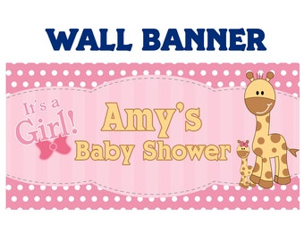 baby shower its a girl baby giraffe welcome home baby girl banners printed baby