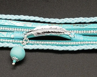 Bracelet with frosted Turquoise Murano glass bead.