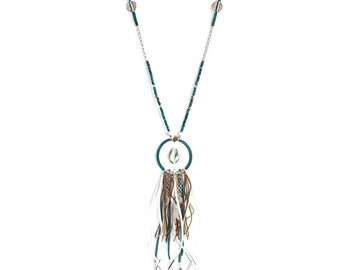 Grigri turquoise, silver and white enamel necklace