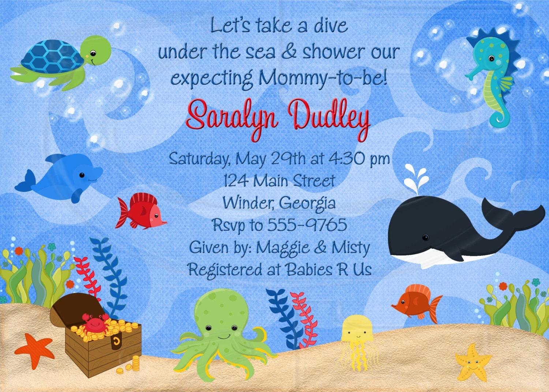 Ocean invite ocean invitation ocean baby shower sea shower