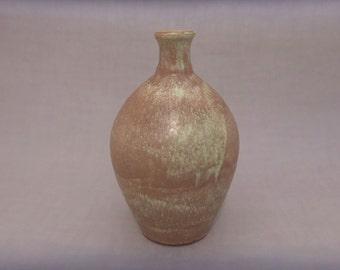 Ceramic Bottle Vase - Round Bottleneck Pottery Vase - Matte Brown