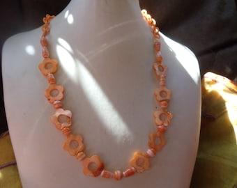 Summer feeling orange statement Neclaces vintage ethnic pink