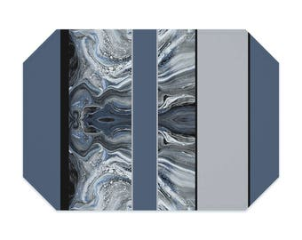 Smoky blue placemat, marbled placemat, striped placemat, modern, washable polyester placemats, fabric placemat, table linens, table setting