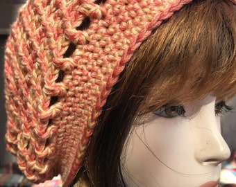 Coral and Yellow Hippie Rasta Tam Slouchy Hat crochet handmade