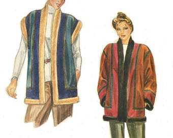 1980s Womens Faux Fur Lined Below Hip Vest and Coat Patchwork Style Vogue Sewing Pattern 8100 Size 12 14 Bust 34 36 FF Vintage Patterns