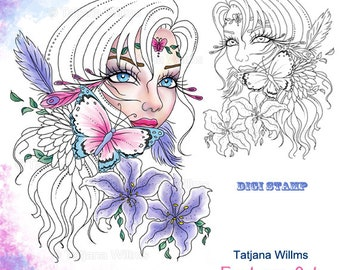 Clarissa - Fantasy Coloring Sheet Digi Stamp Adult Coloring Girl. Lilies Butterfly Feathers Flowers Instant Download!