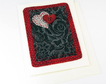Romance Fabric Collage of Hearts and Button Card