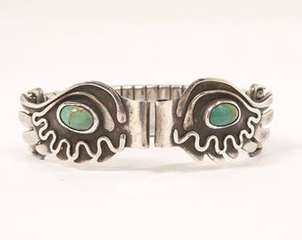 Vintage Turquoise Watch Band Navajo Native American Sterling Silver Artisan Signed Expandable Stainless Band