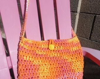 Crocheted Sunbag Pink Orange Yellow Cotton Totebag Bag Sun Button by Distinctly Daisy