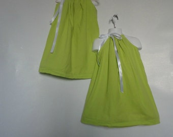 Twin Girls. Big Sister Little Sister. Sisters. Matching Dresses. Matching Sisters Dresses. Pillowcase Dresses.Bright Dresses. Lime Green