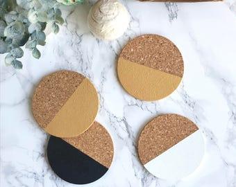 White, Gold + Black Cork Coasters   Round Coasters   Barware   Drinkware   Set of 4