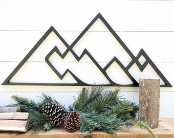 Geometric Mountains wall hanging | Geometric woodland theme mountain decor| Mountain range wall decor available in 4 sizes
