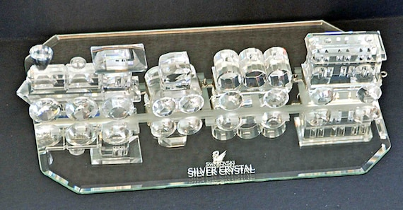 Vintage Collectible 1990 SWAROVSKI TRAIN SET of 4 With Mirror, Locomotive, Tender Car, Petrol Wagon, Train Carriage Exc Condition
