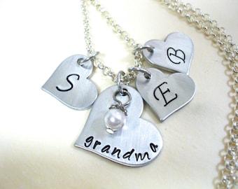 Grandma Heart Jewelry, Grandkids Jewelry, Personalized Jewelry, Hand Stamped Jewelry